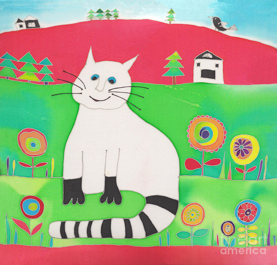 Fat White Cat Painting  - Fat White Cat Fine Art Print