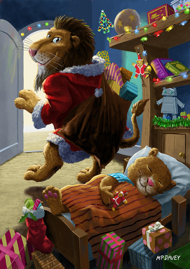 Father Christmas Lion Delivering Presents Digital Art  - Father Christmas Lion Delivering Presents Fine Art Print