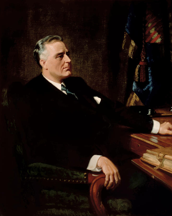 Franklin Roosevelt Painting - Fdr Official Portrait  by War Is Hell Store