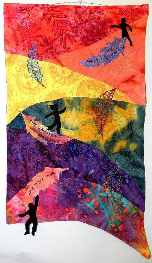 Haiku Tapestry - Textile - Feather In The Wind by Maureen Wartski