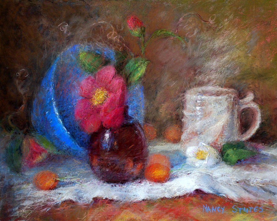 Featured Blue Bowl   Drawing  - Featured Blue Bowl   Fine Art Print
