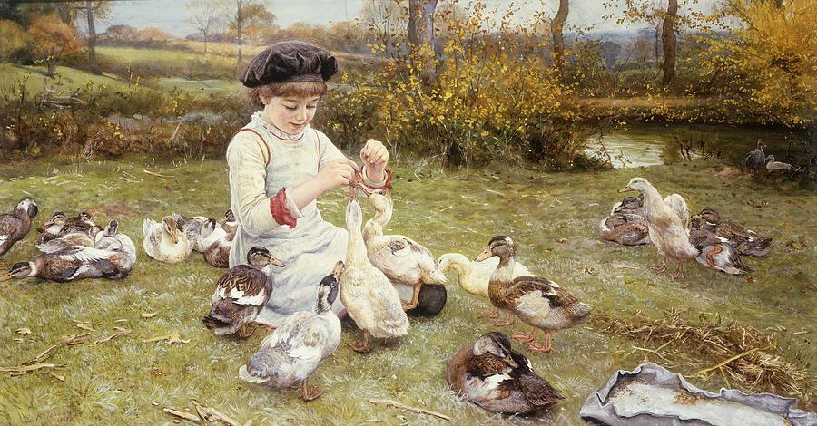 Feeding; Ducks; Duck; Bird; Birds; Grass; Grassy; Bank; Riverbank; Child; Young; Youth; Girl; Seated; Beret; Cap; Hat; Rural; Countryside; Idyllic; Meadow;  Painting - Feeding Ducks by Edward Killingworth Johnson