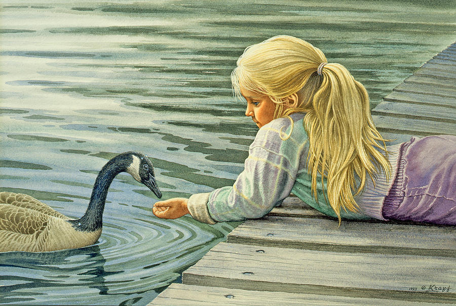 Feeding The Canada Goose Painting