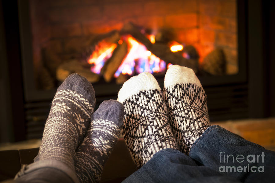 Feet Warming By Fireplace Photograph