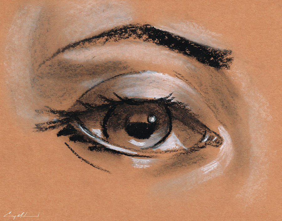 Female Eye Drawing Carey Muhammad Cray Pas On Paper Drawing - Female Eye Drawing by Carey Muhammad