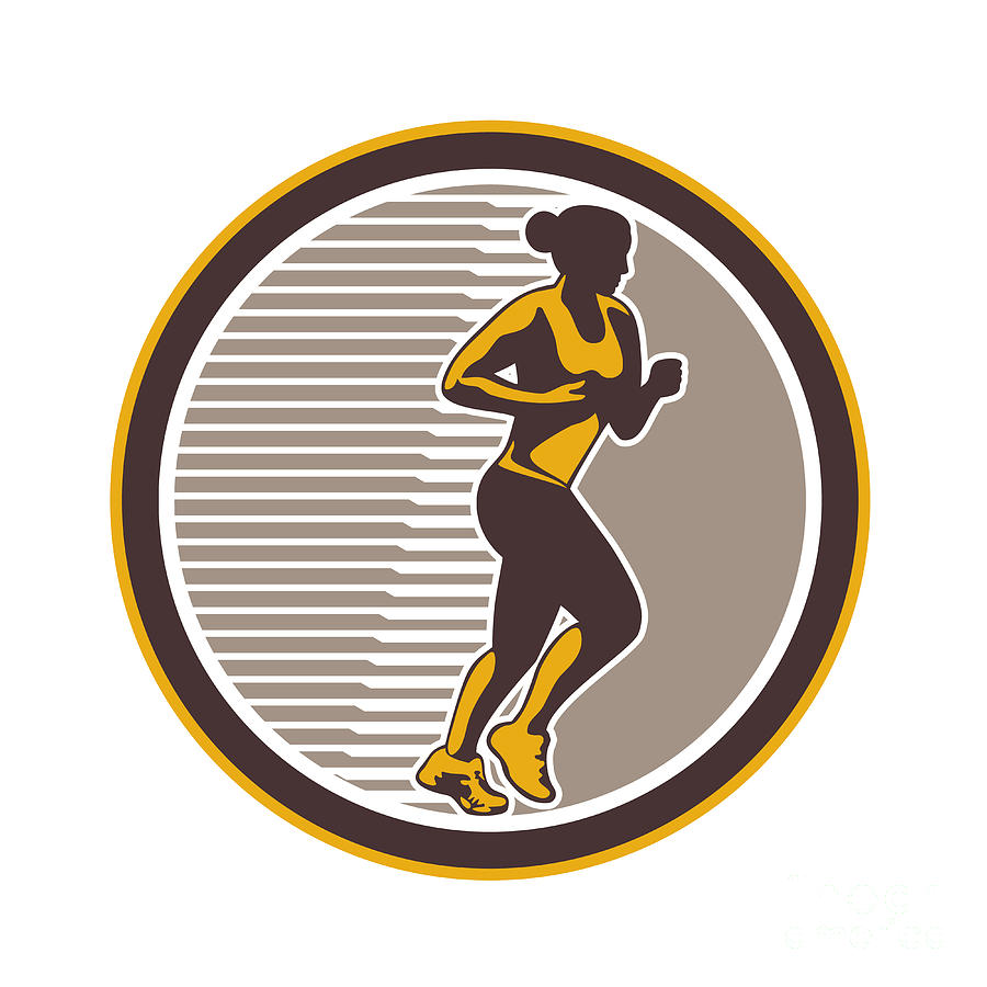 Female Marathon Runner Side View Retro Digital Art