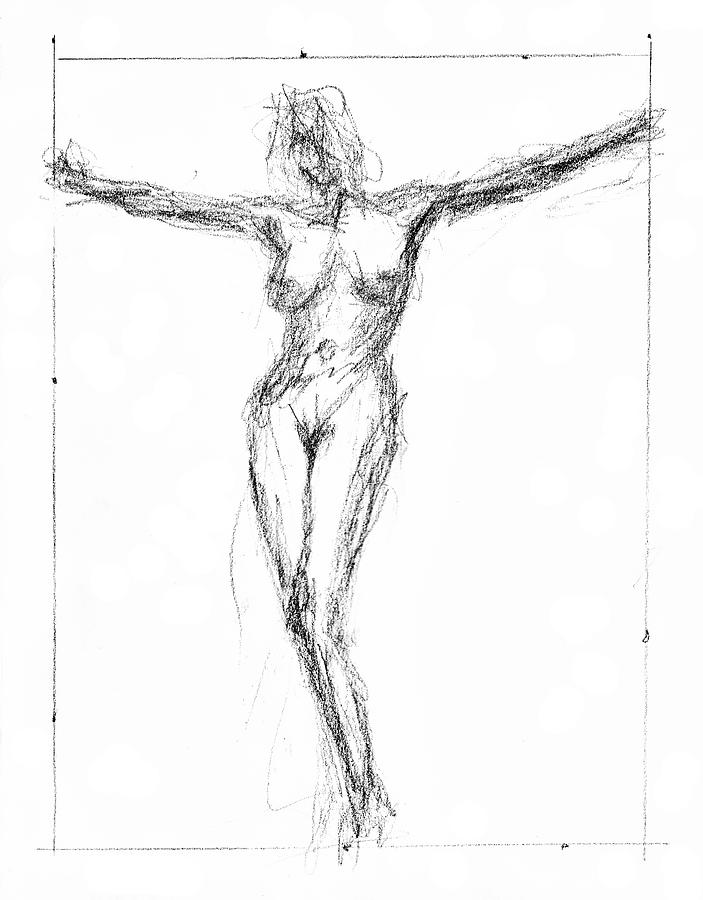 Nude Drawing - Female Nude In The Pose As Jesus Christ Crucifix  - Pencil Drawing by Nenad Cerovic