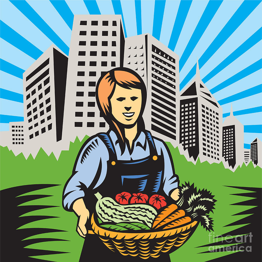 Female Organic Farmer Urban Digital Art  - Female Organic Farmer Urban Fine Art Print