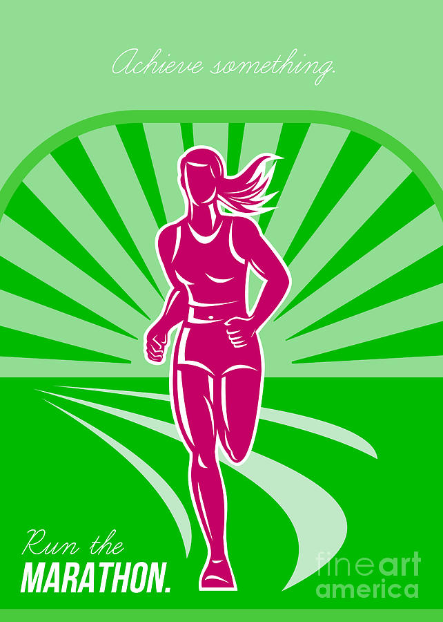 Poster Digital Art - Female Run Marathon Retro Poster by Aloysius Patrimonio