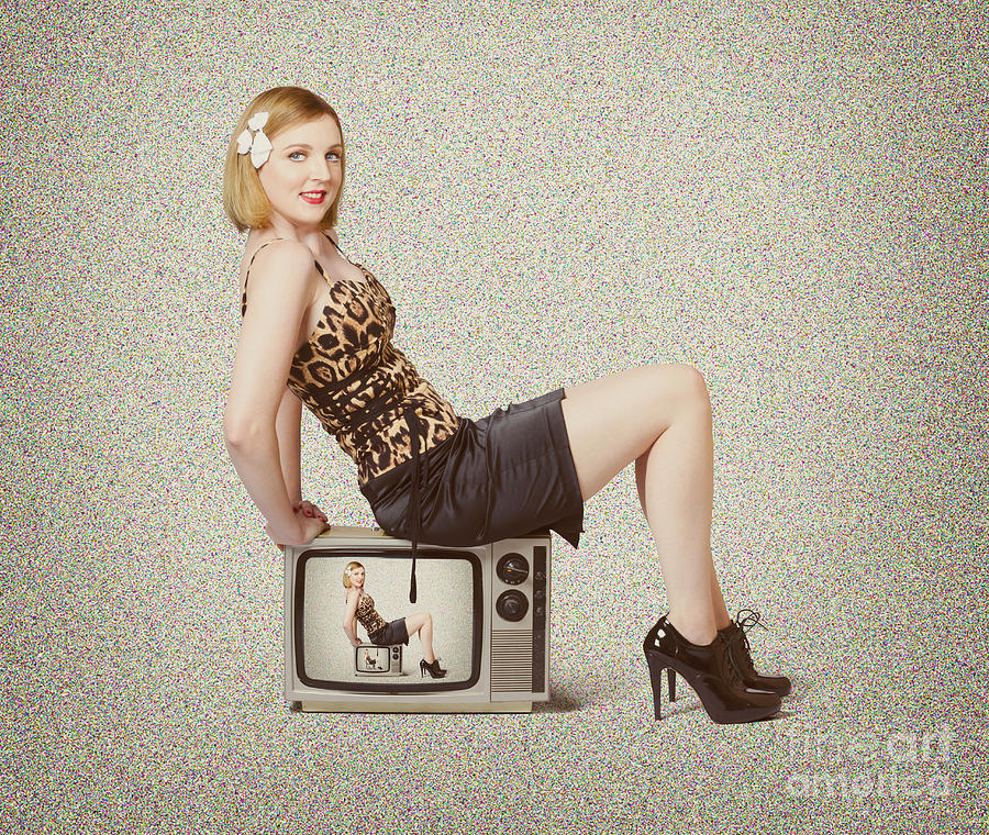 Female Television Show Actress On Old Tv Set Photograph