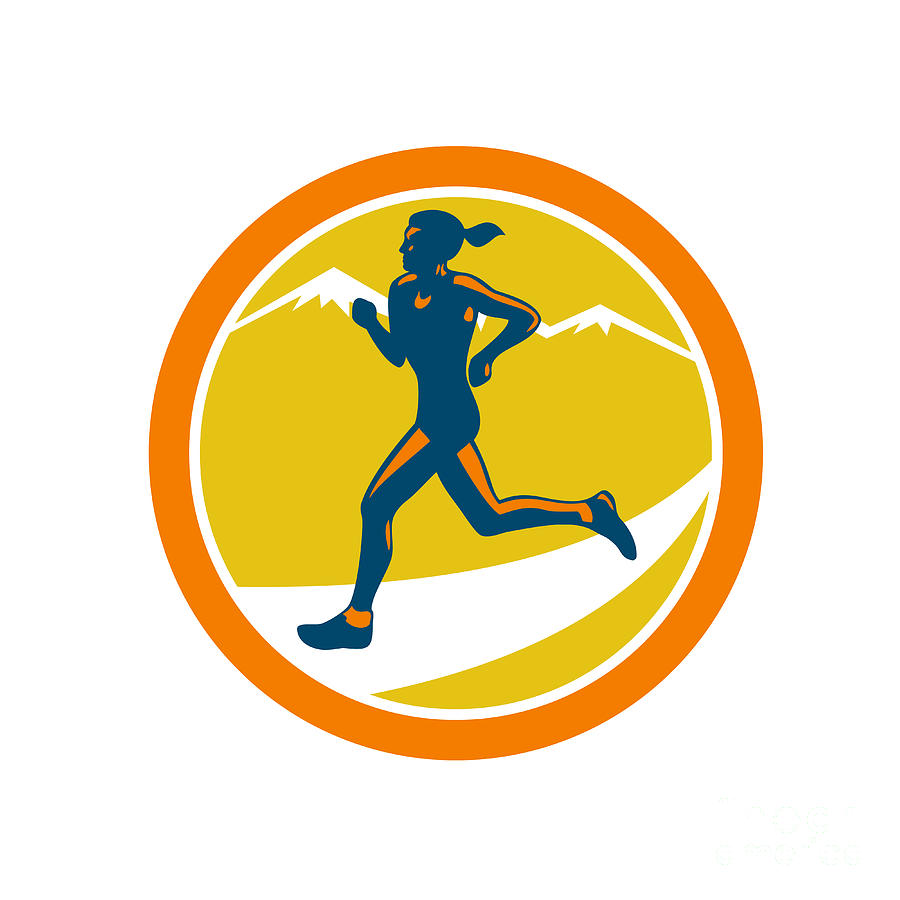 Female Triathlete Runner Running Retro Digital Art