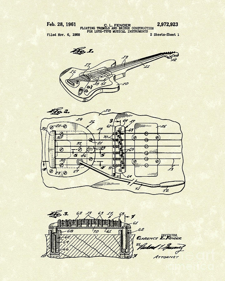 Fender Drawing - Fender Floating Tremolo 1961 Patent Art by Prior Art Design