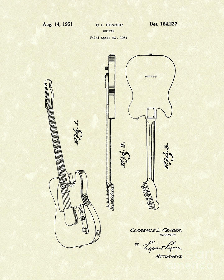 Fender Guitar 1951 Patent Art Drawing  - Fender Guitar 1951 Patent Art Fine Art Print