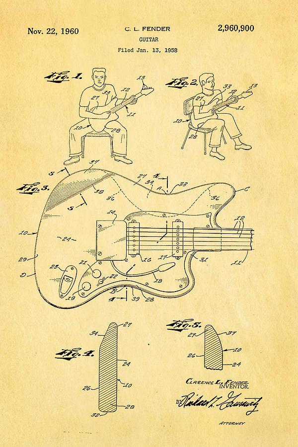 Famous Photograph - Fender Jazzmaster Guitar Patent Art 1960  by Ian Monk