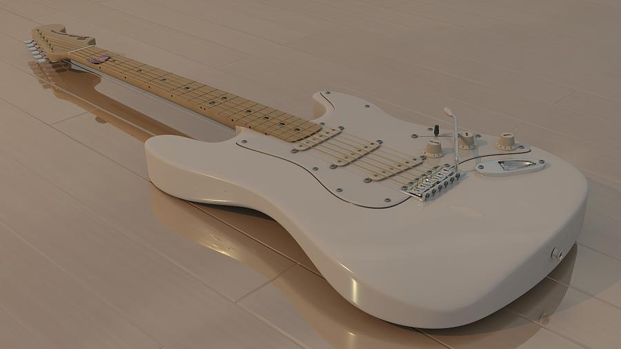 Fender Stratocaster In White Photograph  - Fender Stratocaster In White Fine Art Print