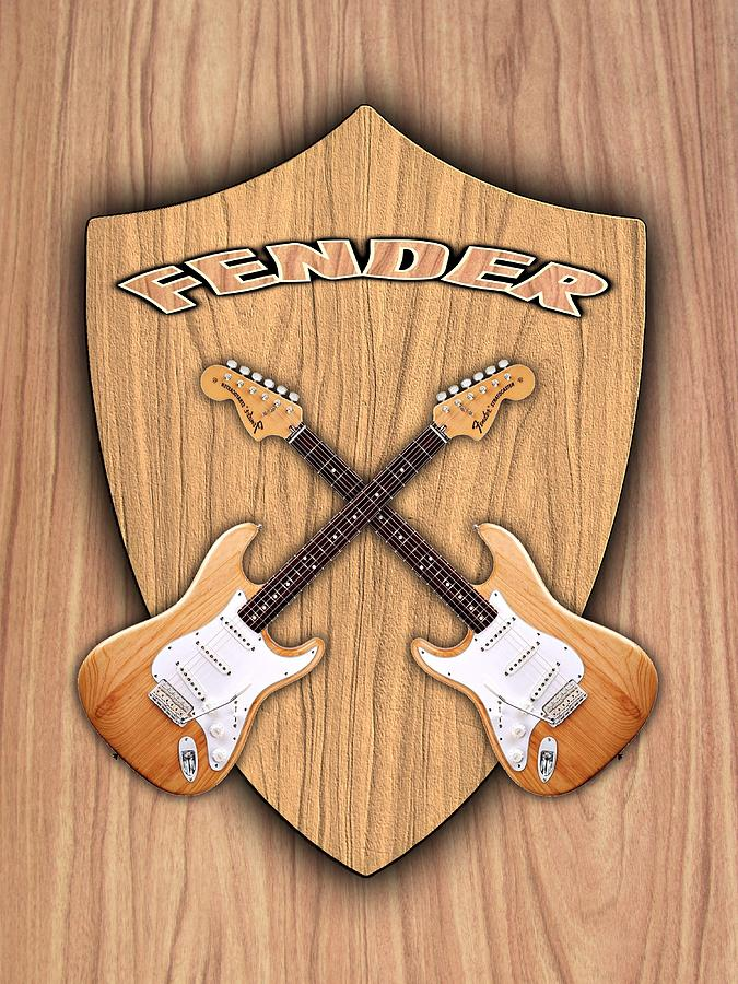 Fender Stratocaster Natural Color Shield Digital Art