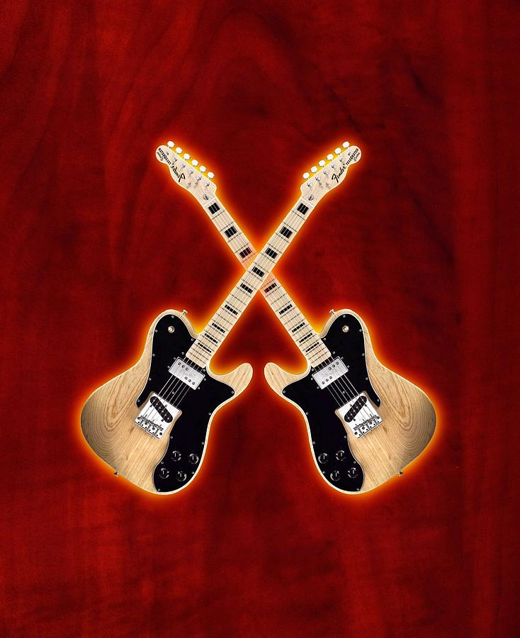 Fender Telecaster Custom Digital Art  - Fender Telecaster Custom Fine Art Print
