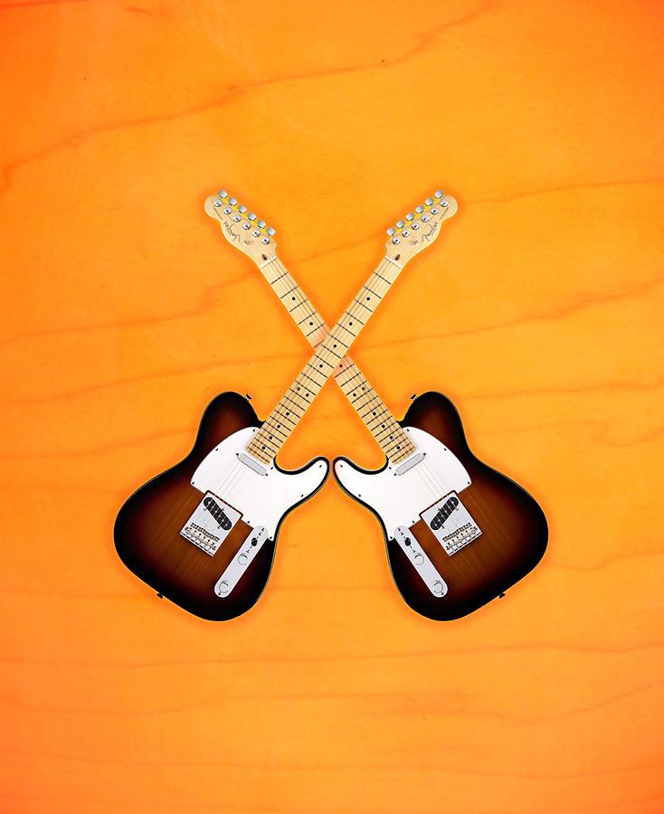 Fender Digital Art - Fender Telecaster Sunburst by Doron Mafdoos