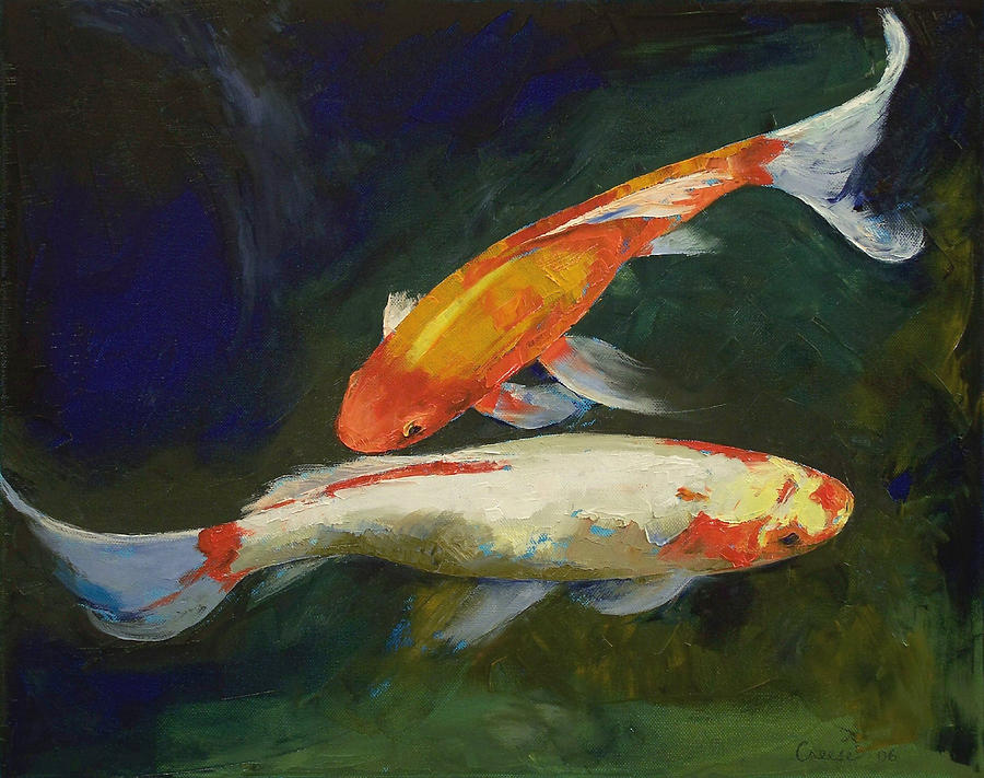 Feng shui koi fish painting by michael creese for Koi artwork on canvas