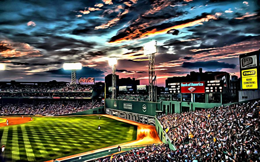 Fenway Park At Sunset Painting By Florian Rodarte