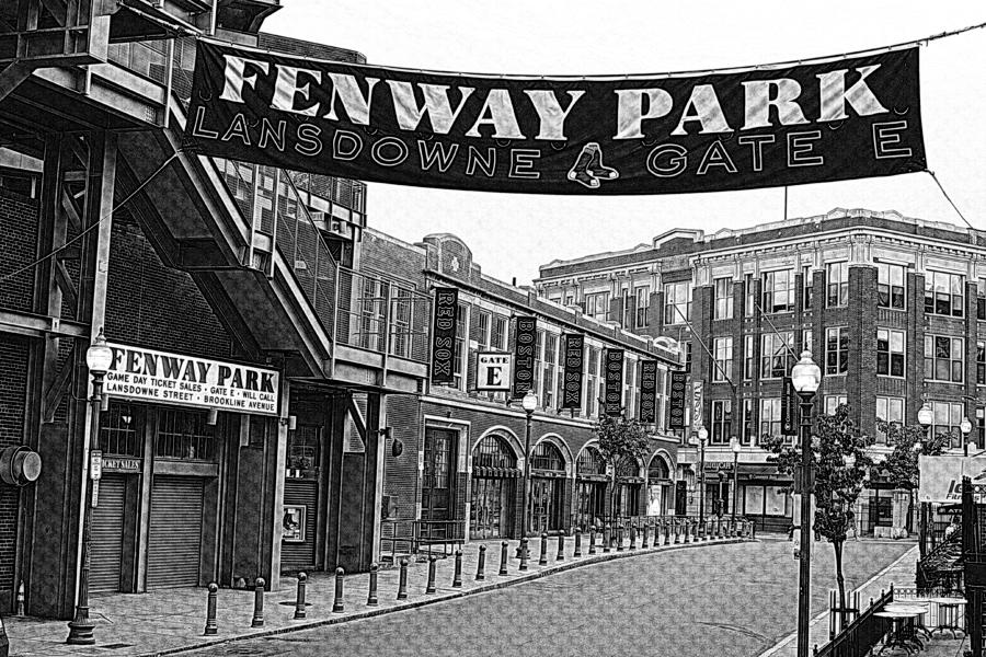 Fenway Park Banner Black And White Photograph by Toby McGuire