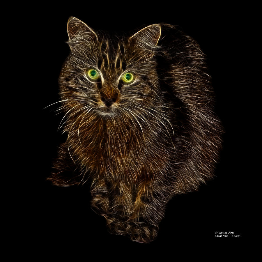 Feral Cat - 9905 F Digital Art  - Feral Cat - 9905 F Fine Art Print