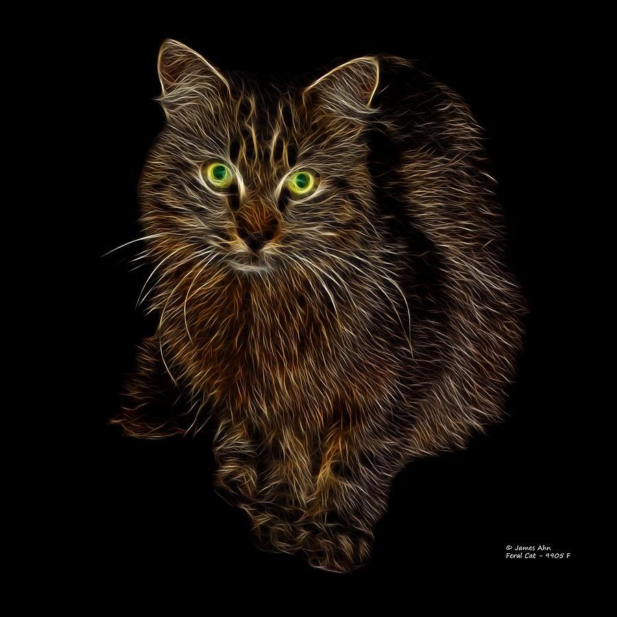 Cat Digital Art - Feral Cat - 9905 F by James Ahn