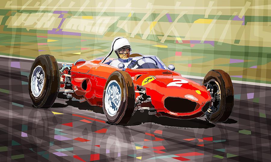 Mixmedia Digital Art - Ferrari 156 Dino British Gp1962 Phil Hill by Yuriy Shevchuk