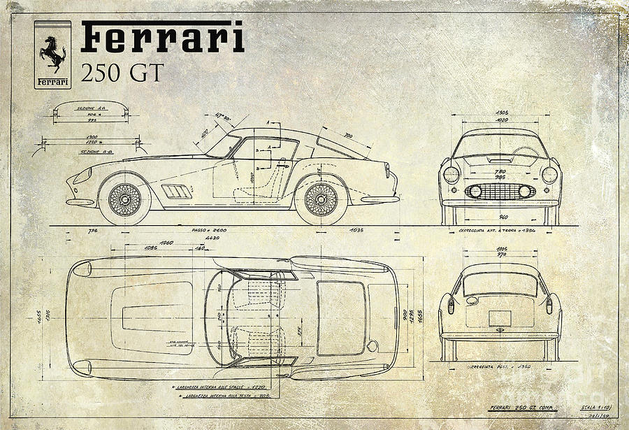 Ferrari 250 Gt Blueprint Antique Drawing By Jon Neidert