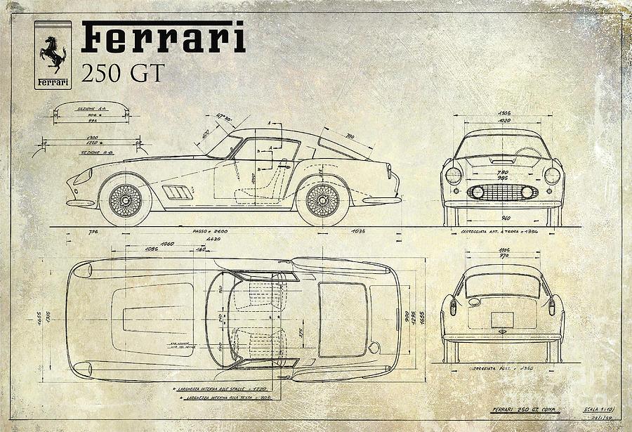 Ferrari 250 Gt Blueprint Antique Drawing By Jon Neidert