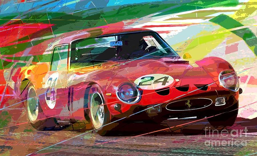 Ferrari Painting - Ferrari 250 Gto Vintage Racing by David Lloyd Glover