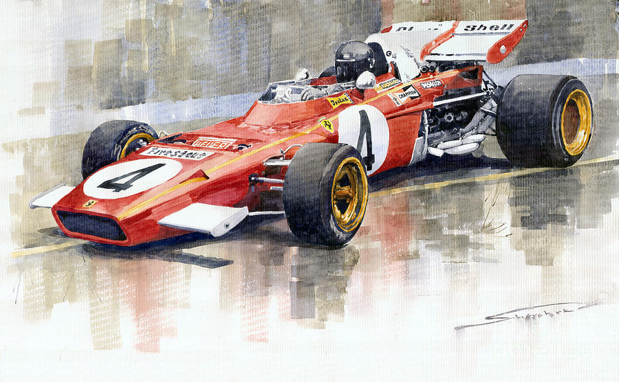 Ferrari 312 B2 1971 Monaco Gp F1 Jacky Ickx Painting  - Ferrari 312 B2 1971 Monaco Gp F1 Jacky Ickx Fine Art Print