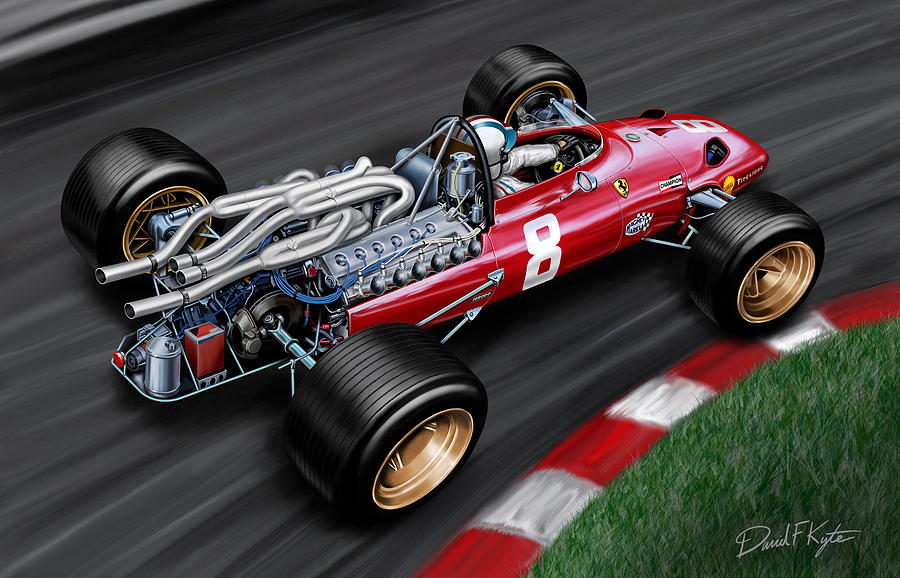 Ferrari 312 F-1 Car Painting  - Ferrari 312 F-1 Car Fine Art Print