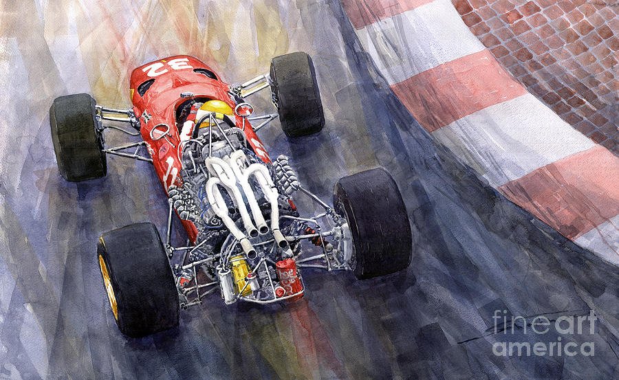 Watercolor Painting - Ferrari 312 F1 1967 by Yuriy Shevchuk