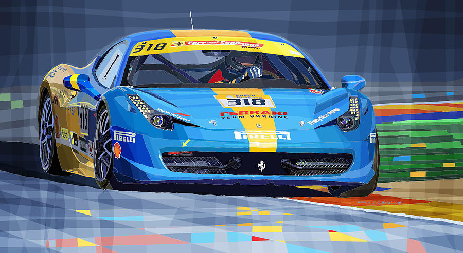 Ferrari 458 Challenge Team Ukraine 2012 Digital Art  - Ferrari 458 Challenge Team Ukraine 2012 Fine Art Print