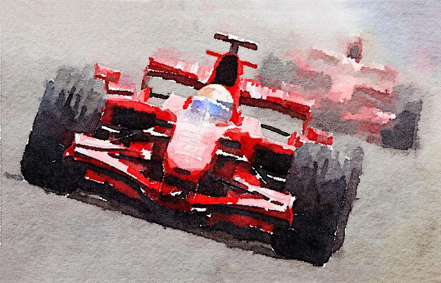 Ferrari F1 Race Watercolor Painting By Naxart Studio