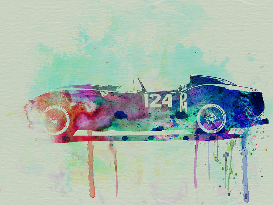 Ferrari Testa Rossa Watercolor 2 Painting  - Ferrari Testa Rossa Watercolor 2 Fine Art Print