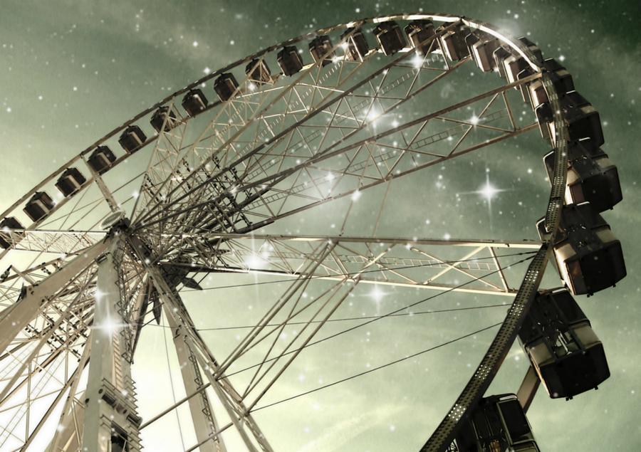 Ferris Wheel At Night In Paris Photograph