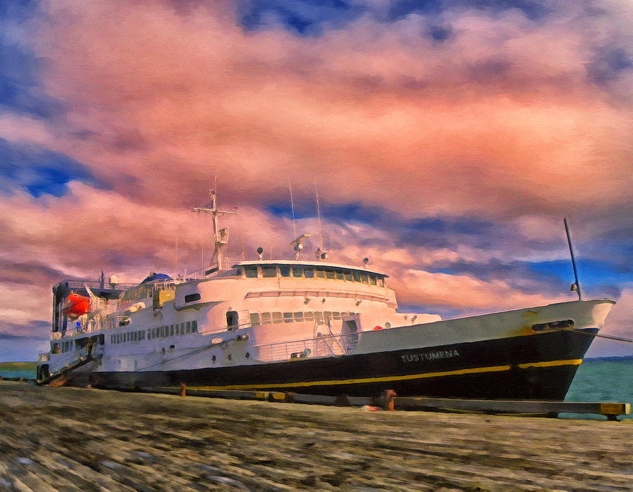 Alaska Painting - Ferry Dockside At Cold Bay by Michael Pickett