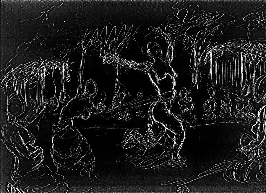 Chalk On Canvas Drawing - Fertility Dance by George Harrison