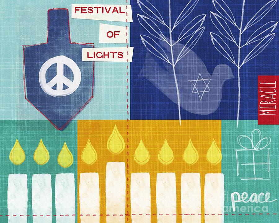 Hanukkah Painting - Festival Of Lights by Linda Woods