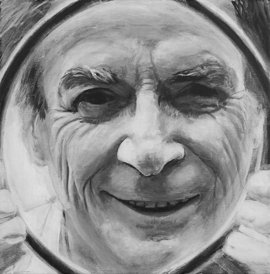 Feynman In Focus- Black And White Painting
