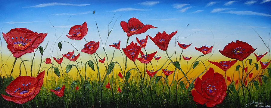 Field Of Red Poppies 4 Painting