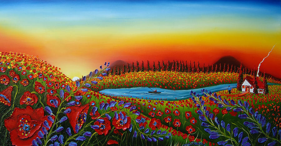 Field Of Red Poppies At Dusk 2 Painting