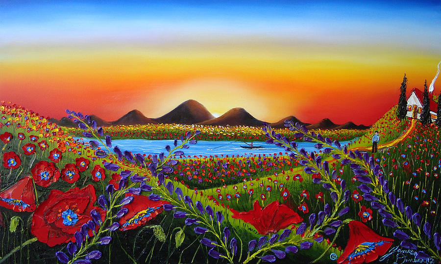 Field Of Red Poppies At Dusk 3 Painting  - Field Of Red Poppies At Dusk 3 Fine Art Print