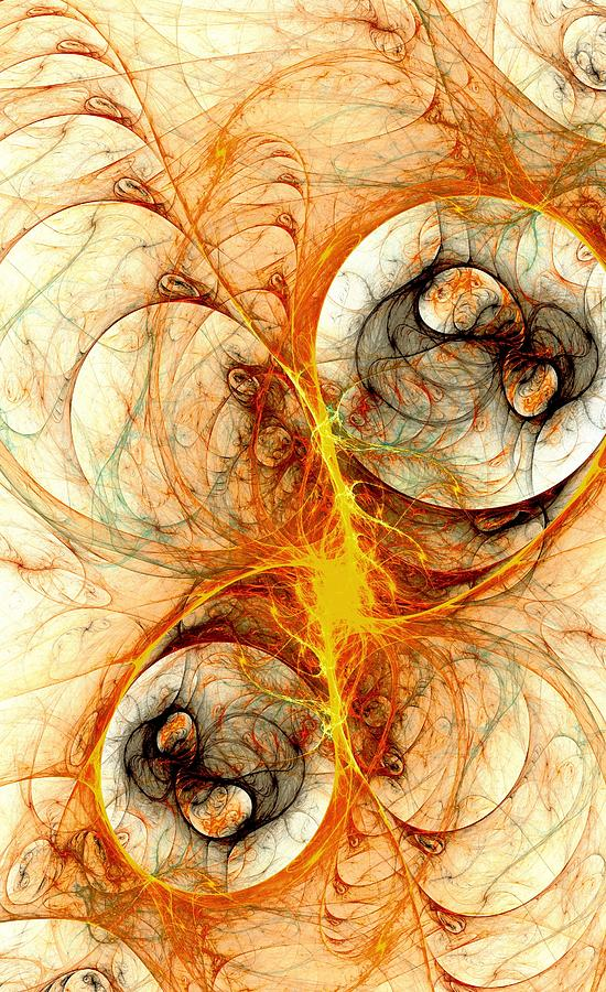 Fiery Birth Digital Art  - Fiery Birth Fine Art Print