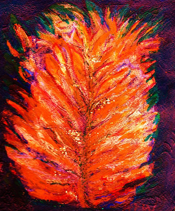 Fiery Leaf Mixed Media