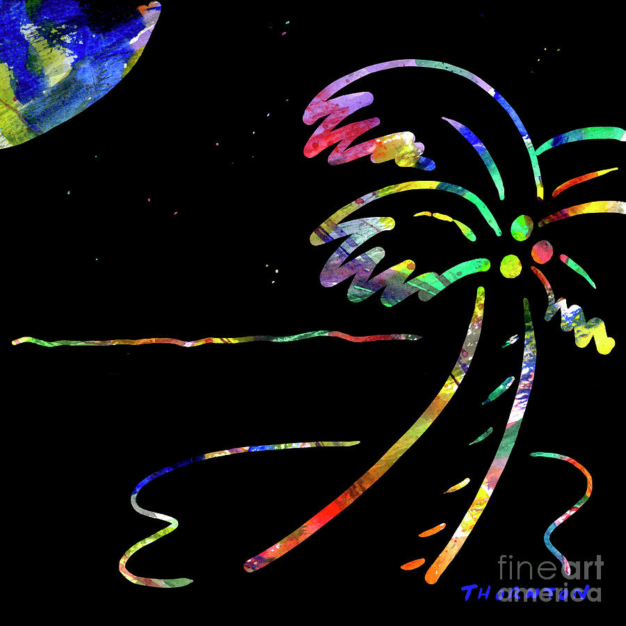 Fiery Palm V Moonglow Painting  - Fiery Palm V Moonglow Fine Art Print