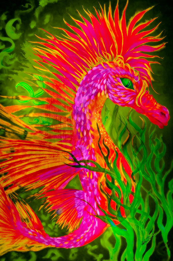 Fiery Sea Horse Painting  - Fiery Sea Horse Fine Art Print