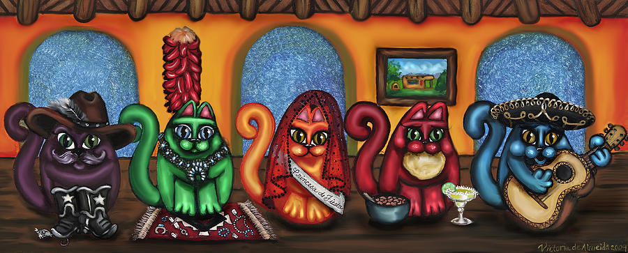 Folk Art Painting - Fiesta Cats Or Gatos De Santa Fe by Victoria De Almeida